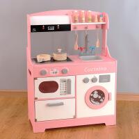 新款儿童木质仿真做饭煮饭声光厨具幼儿园木制过家家发声厨房套装
