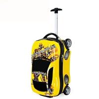 儿童拉杆箱麦昆汽车小学生行李箱万向轮书包四轮儿童旅行箱包18英寸书包男女拉杆书包两轮 黄色汽车4轮 18英寸