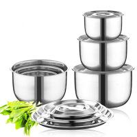 不锈钢汤盆三件套加厚带盖油盆打蛋盆调料缸汤锅汤碗 图片色 碗