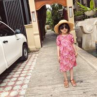 度假沙滩裙女童夏装碎花裙2018新款时尚韩版长裙短袖公主裙