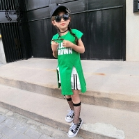 女童打底衫2017夏装新款童装韩版儿童字母短袖不规则下摆长t恤潮
