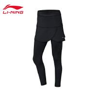 李宁裤裙女士新款羽毛球系裤子假两件女装冬季抗静电针织运动裤