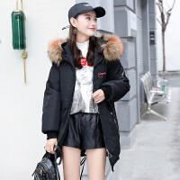 棉衣 女士长款宽松面包服2020秋冬韩版新款女式个性连帽加绒加厚大衣外套