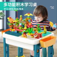 积木桌子益智拼装大颗粒多功能学习桌3-6岁以上男童5男孩儿童玩具
