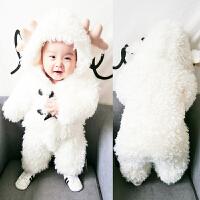 婴儿新生儿男女宝宝冬装外出衣服秋冬季加厚保暖哈衣珊瑚绒连体衣