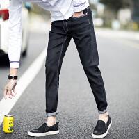 男士黑色修身新款青年弹力休闲长裤子配短袖衬衫T恤的小脚牛仔裤