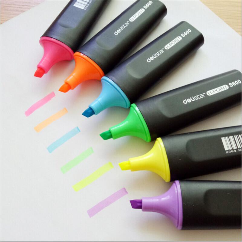 得力S600荧光笔彩色醒目标记笔学生重点知识标注红蓝绿淡色记号笔荧光笔
