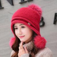 学生街头兔毛帽子女韩版毛线护耳保暖纯色百搭针织帽
