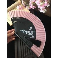 日式樱花真丝烤漆6寸小和风古典古风半透明折扇子女随身夏季