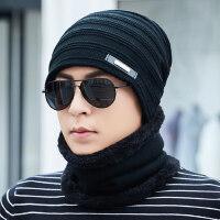 帽子男针织毛线帽加绒加厚套头帽保暖防风青年男士棉帽