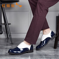 红蜻蜓新款亮面撞色潮流帅气防滑低粗跟休闲皮鞋男
