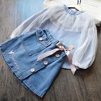 女童牛仔短裙套装 2018春季新款韩版娃娃衫上衣+半身裙公主两件套