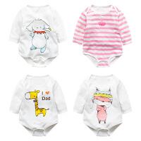婴儿连体衣服宝宝新生儿季0岁5个月睡衣2长袖1三角哈衣冬季