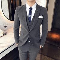 西服套装男士新郎结婚礼服修身韩版发型师西装三件套定制休闲正装