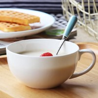 可爱牛奶杯带盖燕麦碗麦片杯陶瓷早餐杯大容量带把水杯骨瓷杯子勺