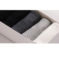 男士袜子黑色 透气竹纤维中筒运动白色商务简约纯棉短袜男袜