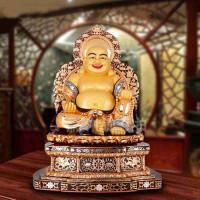 纯铜鎏金弥勒佛摆件 如意招财送宝佛像创意礼品