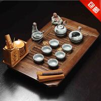 思故轩功夫茶具茶盘实木茶海茶台 哥窑冰裂陶瓷整套茶具套装CJT1702