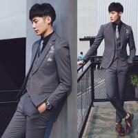 秋季英伦西服套装男青年修身商务休闲小西装韩版结婚礼服三件套潮