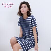 康妮雅睡裙女士夏季中裙薄款外穿休闲时尚条纹圆领短袖居家裙
