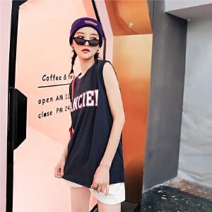 七格格ulzzang篮球背心女bf风夏装2018新款短款原宿吊带外穿上衣无袖t恤