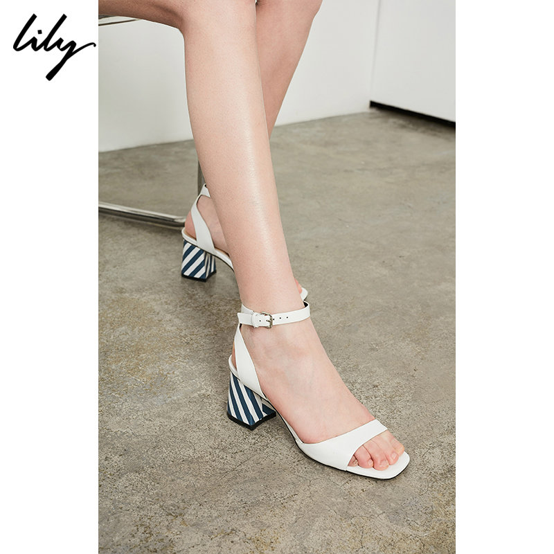 Lily春夏新款女装时尚露趾细带柔软皮革粗跟凉鞋118210JZ406