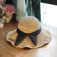 韩版遮阳帽可折叠大檐帽蝴蝶结太阳帽休闲大沿草帽沙滩帽子女
