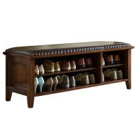 美式实木换鞋凳储物凳穿鞋凳玄关凳欧式门厅鞋凳床前凳鞋柜凳鞋架