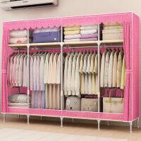 简易衣柜布衣柜时尚浮雕压花双人储物收纳柜子钢管组装抽屉布衣橱