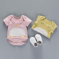 婴儿连体衣女宝宝薄款哈衣新生儿包屁衣服初生纯棉夏装0-3个月1岁