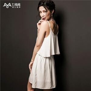 【限时秒杀价65.8】夏装新款 民族风刺绣 无袖高腰白色吊带假两件连衣裙
