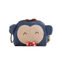 韩版帆布双层零钱包 女式可爱迷你硬币钥匙小包包 化妆品收纳包 龙猫 蓝色