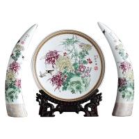 创意家居装饰品陶瓷摆件三件套景德镇象牙欧式花瓶客厅玄关博古架