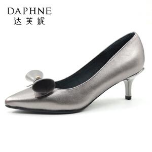Daphne/达芙妮秋款尖头牛皮秀气蝴蝶结职业细中跟单鞋