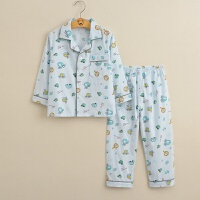 新款儿童棉睡衣春夏秋季棉布纽扣家居服男童女童长袖长裤