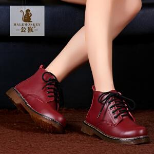 公猴新款中帮马丁靴短靴加棉英伦女靴子欧美冬靴皮靴
