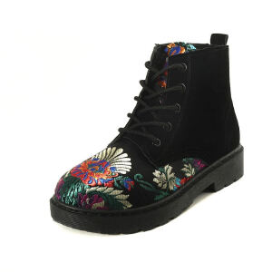 ELEISE美国艾蕾莎新品秋冬182-hk9韩版绸缎平底鞋鞋女士马丁靴短靴
