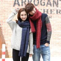 韩版时尚加厚针织围脖长款男女士围巾休闲年轻人情侣保暖纯色