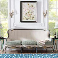 法式新古典欧洲进口白榉木实家具条纹面料手工雕花客厅沙发【不含抱枕】