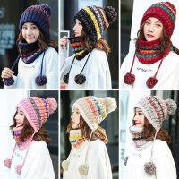 英伦套头保暖护耳帽子女士围巾 韩版加绒针织毛线帽 新款撞色潮百搭帽子女