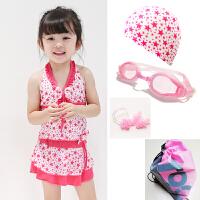 儿童泳衣分体连体中大童裙式可爱女孩游泳装比基尼 灰色 红星星分5件套