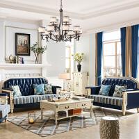 田园美式实木皮艺沙发后轻奢家具欧式高端别墅客厅123组合客厅