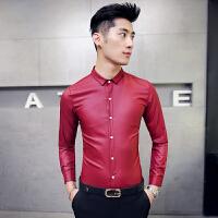 秋季纯色长袖衬衫村杉忖寸衫男士衬衣韩版修身酒红色亮面酒吧工装