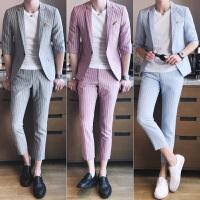 夏季新款亚麻短袖小西装男套装韩版潮青年修身条纹西服两件套薄款