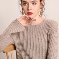 修身长袖打底针织羊毛连衣裙秋冬新款中长款羊绒衫女圆领套头毛衣