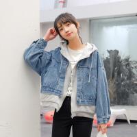 牛仔衣 女士2020春季新款韩版宽松牛仔服连帽学生女式上衣夹克潮拼接卫衣假两件外套