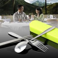 不锈钢餐具礼盒三件套 学生便携抽拉餐具盒套装筷子勺子叉餐具学生旅行筷勺盒 颜色随机