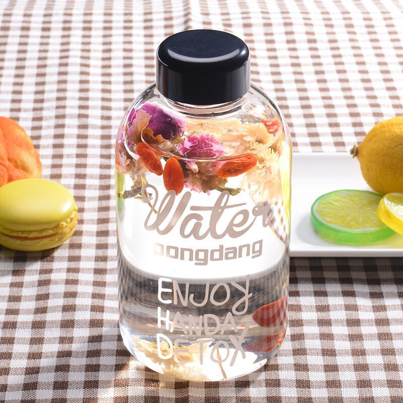 创意透明玻璃花果茶杯单层果汁饮料杯子耐热文艺胖胖杯大容量便携学生大肚水杯