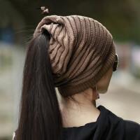 帽子女韩版潮百搭毛线帽时尚休闲保暖无顶针织帽