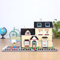 万格积木城市模型别墅花园拼装房子6岁以上积木玩具儿童礼物新